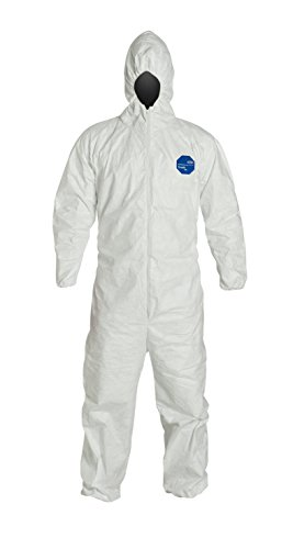 DuPont Tyvek 400 TY127S Disposable Protective Coverall with Respirator-Fit Hood and Elastic Cuff, White, 3X-Large (Pack of 6)