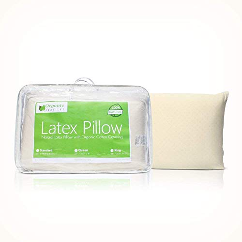 Natural Latex Pillow (Standard Size, Soft), with 100% Organic Cotton Cover Protector, Hypoallergenic, No Toxic Memory Foam Chemicals, Helps Relieve Pressure, Sleeping Support, Back and Side Sleepers
