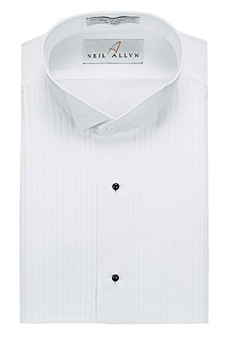 Neil Allyn Mens Tuxedo Shirt Poly/Cotton Wing Collar 1/4 Inch Pleat (16 - 32/33) White