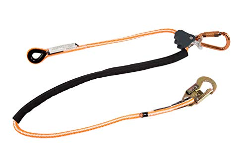 Pelican Rope Positioning Lanyard with Steel Snap Hook (1/2 inch x 8 feet)  Polyester Rope, Adjustable Lanyard, for Fall Protection, Arborist, Tree Climbers