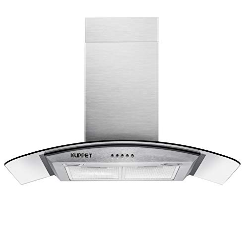 KUPPET Pro-Style 30' Wall Mount Range Hood, Tempered Glass Ducted Exhaust Vent, High-End LED Lights, Aluminum Mesh Filter, Push Button 3 speed controls, Stainless Steel