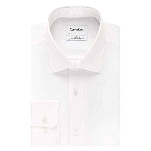 Calvin Klein Men's Regular Fit Non Iron Herringbone Spread Collar Dress Shirt, White, 16.5' Neck 34'-35' Sleeve