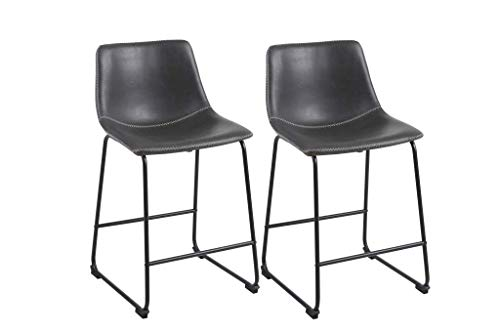 Phoenix Home Lotusville Vintage PU Leather, Set of 2 Counter Height Stool, Gray