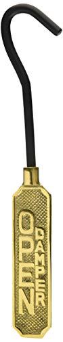 Upper Deck Solid Brass Metal Open/Closed Fireplace Damper Sign Hanging Flue Pull Hook