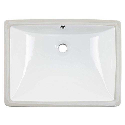 Friho 18.5''x13.8''x7.9'' Modern Sleek Rectangular Undermount Vanity Sink Porcelain Ceramic Lavatory Bathroom Sink,White With Overflow