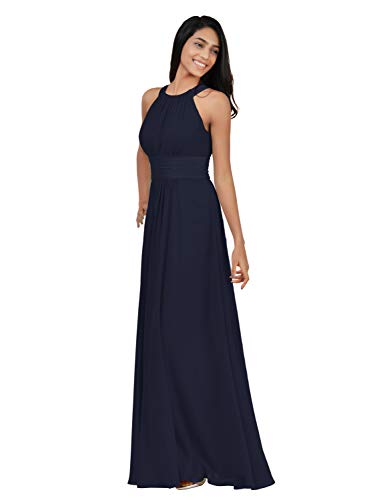 Alicepub Halter Chiffon Bridesmaid Dresses Long Formal Dress for Women Party Evening Party Prom Occasion, Dark Navy, US6