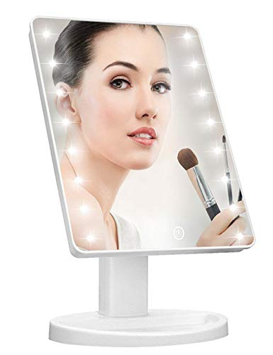 KOOKIN Lighted Vanity Makeup Mirror with 16 Led Lights 180 Degree Free Rotation Touch Screen Adjusted Brightness Battery USB Dual Supply Bathroom Beauty Mirror (White)