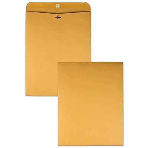 Quality Park 12' x 15-1/2' Clasp Envelopes, Brown Kraft, Gummed Flap, 100/Box (QUA37810)