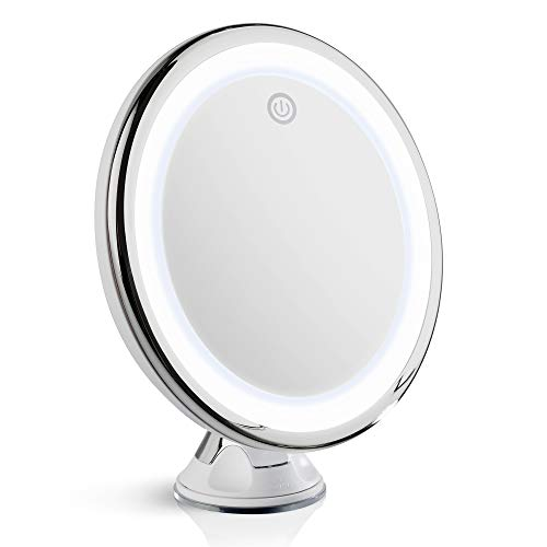 Fancii 10X Magnifying Makeup Mirror with True Natural Light and Locking Suction - 8 inch Large Lighted Travel Vanity Mirror, Dimmable Daylight LEDs, Battery and USB Operated