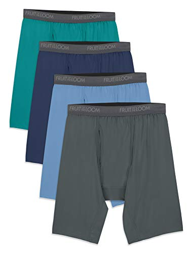Fruit of the Loom Men's Micro-Stretch Long Leg Boxer Briefs, assorted, 2X-Large - Pack of 4
