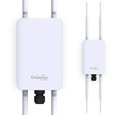 EnGenius Technologies ENH1350EXT Wi-Fi 5 AC1300 2x2 Dual-Band Outdoor Long Range Access Point Features IP67 Rated, MU-MIMO, PoE Injector Included, Beamforming, Fast Roaming (Mounting Kit Included)