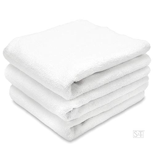 S&T INC ST Microfiber Fitness Exercise Towels, 6 Pack, 16-Inch x 27-Inch, White