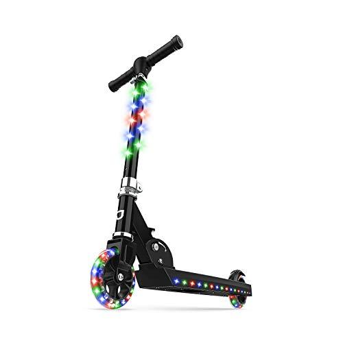 Jetson Jupiter Kick Scooter, Black - LED Light-Up, Adjustable Handle Bar, for Kids Ages 5+