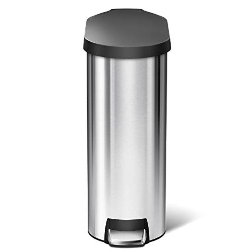 simplehuman 45 Liter / 12 Gallon Slim Kitchen Step Trash Can, Brushed Stainless Steel with Plastic Lid