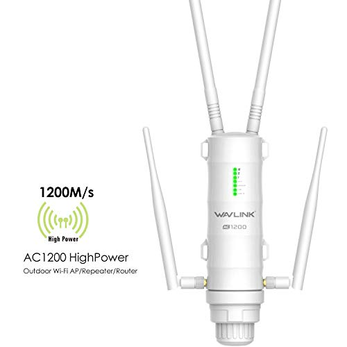 AC1200 Outdoor WiFi Long Range Extender Signal Booster in 4 High Gain Antennas, WAVLINK-WN572HG3 Dual Band 2.4+5G 1200Mbps 802.11AC PoE Access Point (AP)/Router/Wireless Repeater Internet Amplifier