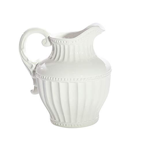 Sagebrook Home 11630 Decorative Pitcher, White Ceramic, 10 x 10 x 11.5 Inches