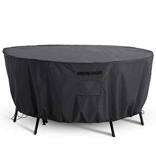 Tempera Outdoor Round Table Chair Set Cover, Waterproof Tear-Resistant UV-Resistant Patio Furniture Cover, Space Grey, 84 inches Diameter