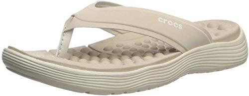 Crocs Women's Reviva Flip Flop, 8 M US, Cobblestone/Stu