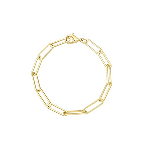 Reoxvo Gold Rectangle Oval Link Chain Bracelet for Women