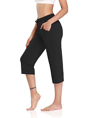 DIBAOLONG Womens Yoga Pants Capri Wide Leg Comfy Drawstring Loose Lounge Workout Pants with Pockets Black XL