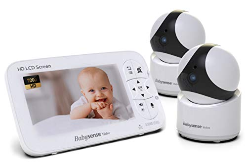 """Babysense Baby Monitor - 720P 5"""" HD Display, Video Baby Monitor with Camera and Audio, Two HD Cameras with Remote PTZ, 960ft Range, Two-Way Audio, Zoom, Night Vision, Secure Hack-Free and Portable"""