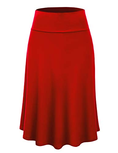 LL WB1105 Womens Lightweight Fold Over Flared Midi Skirt L RED