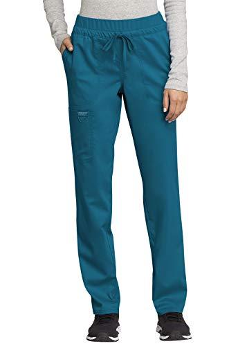 CHEROKEE Workwear WW Revolution Mid Rise Tapered Leg Drawstring Pant, WW105, M, Caribbean Blue