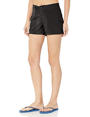 Kanu Surf Women's Breeze Solid Stretch Boardshort, Black, 6