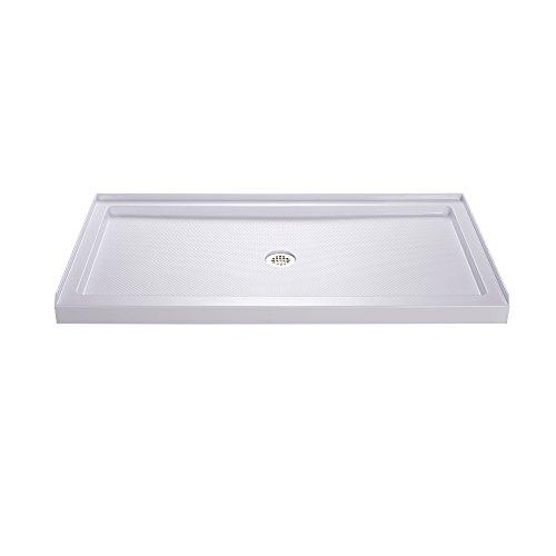 DreamLine SlimLine 32 in. D x 60 in. W x 2 3/4 in. H Center Drain Single Threshold Shower Base in White, DLT-1132600