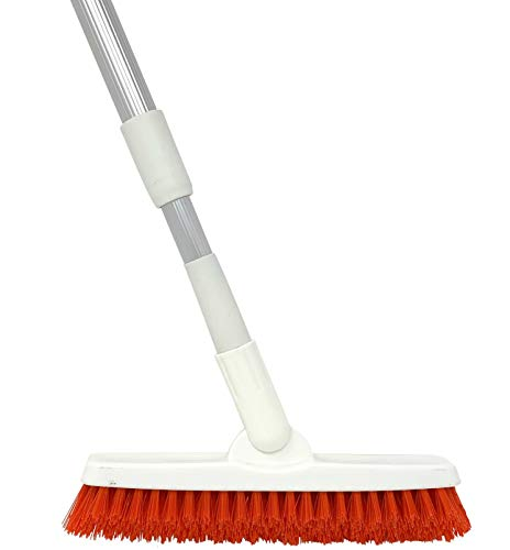 Grout Brush with Long Handle - Extendable Telescopic Handle - Kitchen | Shower | Tub | Tile Scrub Brush by Foxtrot Living
