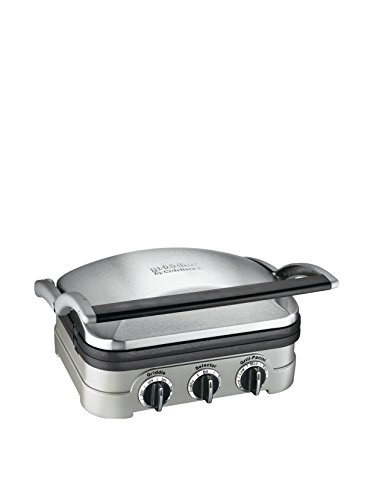 Cuisinart GR-4NP1 5-in-1 Griddler, 13.5'(L) x 11.5'(W) x 7.12'(H), Silver With Silver/Black Dials