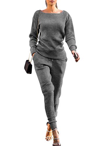 VNVNE Womens Fall Rib-Knit Pullover Sweater Top & Long Pants Set 2 Piece Outfits Tracksuit (Grey, S)