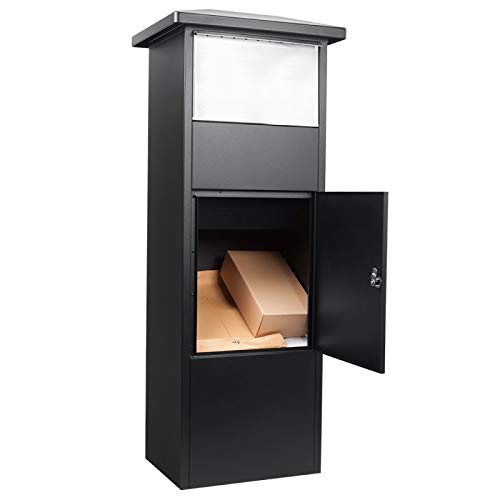 Steel Freestanding Parcel Mail Drop Box with Lockable Compartment, Black