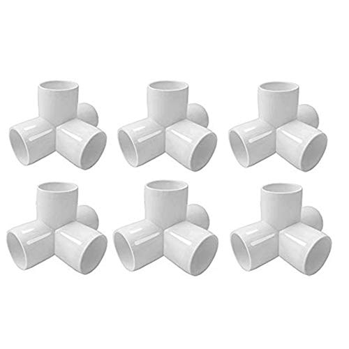 Sasonco 4 Way PVC Corner Fitting 3/4' PVC Elbow Corner Side Outlet Tee Fitting PVC Three Quarter Elbow Fittings for Furniture Grade,Greenhouse shed Pipe Fittings and Tent Connection 6pcs