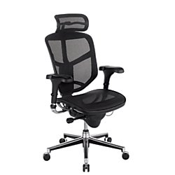 WorkPro Quantum 9000 Ergonomic Mesh High-Back Executive Chair with Headrest, Black/Silver