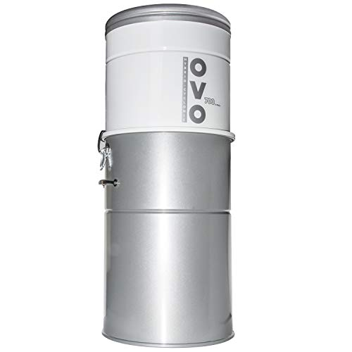 OVO Heavy Duty Powerful Central Vacuum System, Hybrid Filtration (with or Without Disposable Bags) 35L or 9.25Gal, 700 Air watts, Large Vac, White & Silver