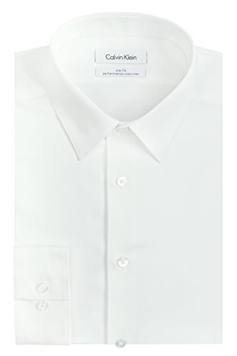 Calvin Klein Men's Dress Shirt Slim Fit Non Iron Herringbone, White, 16' Neck 32'-33' Sleeve (Large)