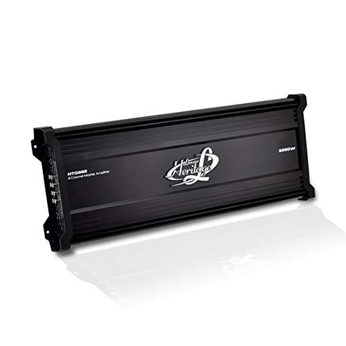 Lanzar Amplifier Car Audio, 5,000 Watt, 8 Channel, 2 Ohm, Bridgeable 4 Ohm, MOSFET, RCA Input, Bass Boost, Mobile Audio, Amplifier for Car Speakers, Car Electronics, Wireless Bluetooth (Renewed)
