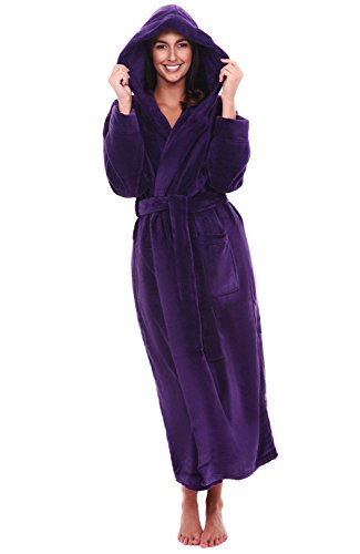 Alexander Del Rossa Women's Plush Fleece Robe with Hood, Warm Bathrobe 1X-2X Purple (A0116PUR2X)