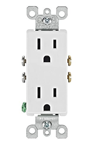 Leviton 5325-WMP 15 Amp, 125 Volt, Decora Duplex Receptacle, Residential Grade, Grounding, 10-Pack, White