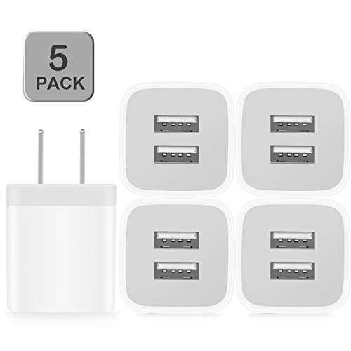 Power-7 USB Wall Charger, 5-Pack 2.1A/5V Dual Port USB Cube Power Adapter Charger Plug Charging Block Compatible with iPhone 11/Xs Max/XR/X/8/8 Plus/7/6S/6 Plus, Samsung, LG, Moto, Android Cell Phones