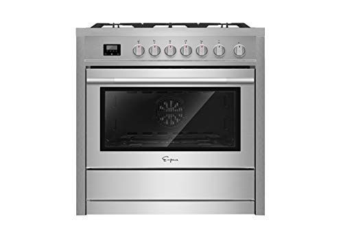 Empava 36' Slide-In Single Oven Gas Range with 5 Sealed Burner Cooktop in Stainless Steel, 36 Inch, Black