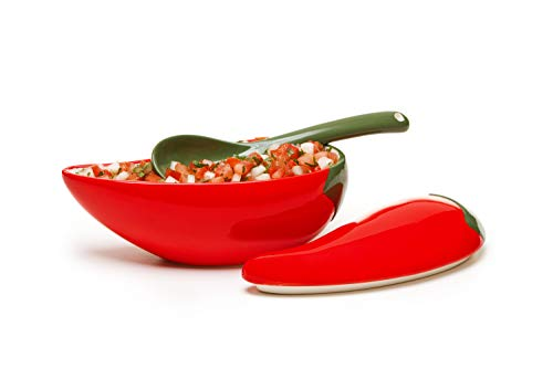 Prepworks by Progressive Salsa Bowl with Spoon - Great for Homemade Salsa and Pico De Gallo, Dips, Party foods, Condiments, Sauces and Toppings