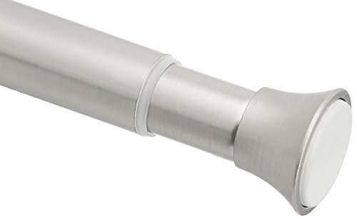AmazonBasics Rust Resistant Easy to Install Tension Shower Doorway Curtain Rod, 54-90', Nickel