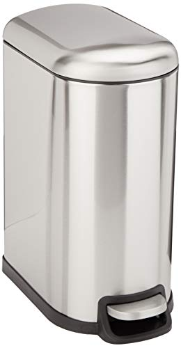 AmazonBasics Rectangle Soft-Close Trash Can for Narrow Spaces - 10L