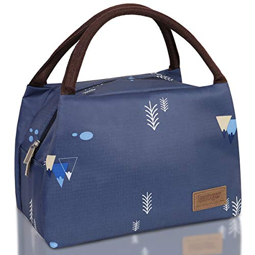 Buringer Reusable Insulated Lunch Bag Cooler Tote Box Meal Prep for Men & Women Work Picnic or Travel (Blue Aquatic Plant)