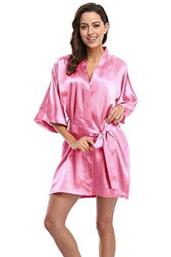Women's Satin Short Kimono Robe Bridesmaid Robes Solid Color Bathrobe for Wedding-Deep Pink XL