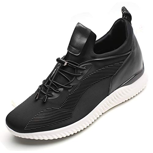 CHAMARIPA Men's Invisible Height Increasing Elevator Shoes - Light Weight Casual Sport Shoes Sneakers - 2.76 inches Taller H71C62V011D 9 US Black