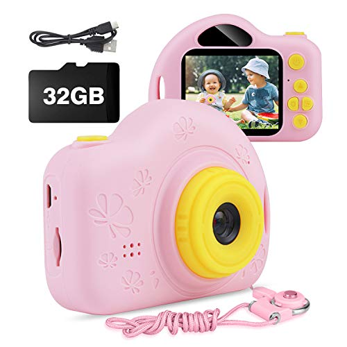 Kids Camera, AIMASON Digital Video Camera for Age 4 5 6 7 8 9 10 Year Old Girls, Mini Rechargeable and Shockproof Camera Creative DIY Camcorder for Little Girl with 32GB SD Card (Pink)