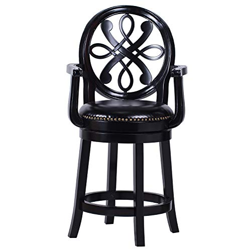 Amoyland Crystal Bar Stools Counter Height with Arms -Swivel Bar Stools with Back -26 Inch Height Wooden Bar Chair,Perfct for Kitchen and Dining and Living Room (Black, 26')